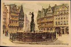Künstler Ak Fischer, Frankfurt am Main, Gerechtigkeitsbrunnen auf Römerberg