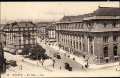 Ak Genf Schweiz, Blick auf das Postgebäude, Passanten, Kutsche, Straßenbahn