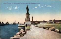 Postcard Port Said Ägypten, Monument of Ferdinand de Lesseps Statue