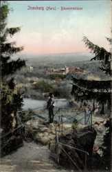 Ak Ilsenburg am Nordharz, Blick von der Bäumlersklippe zum Ort, Wald