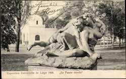 Postcard Liège Lüttich Wallonien,  Weltausstellung 1905, Le Faune Mordu, Statue