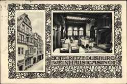 Ak Duisburg im Ruhrgebiet, Hotel Weinhaus Retze, Innenansicht
