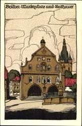 Steindruck Ak Brilon im Hochsauerlandkreis, Marktplatz und Rathaus