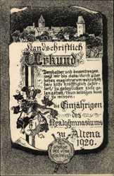 Studentika Ak Altena im Märkischen Kreis, Urkunde, Siegel, Realgymnasium,1920