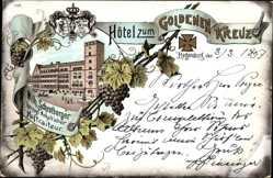 Litho Regensburg an der Donau Oberpfalz, Hotel zum goldenen Kreuz, Schrotberger
