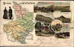 Landkarten Litho Heilbad Heiligenstadt, Trachten, Worbis, Dingelstädt