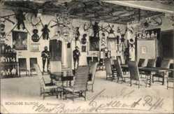 Ak Burgk, Schloss Burgk, Blick in den Rittersaal, Geweihe, Rüstungen
