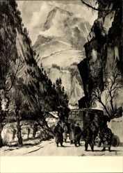 Künstler Ak Möbius, W.,Polizei bei Marschpause im Gebirge,Dt. Künstler u. die SS