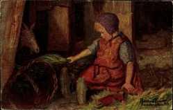 Künstler Ak Bressler, Reinhold, Kind füttert eine Ziege, Stall, Gute Kameraden