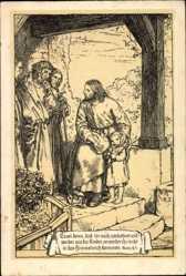 Ak Einladung zur Taufe 1915, Matthäus 18 3, Es sei denn daß ihr euch umkehret
