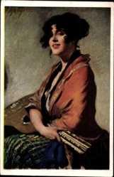 Künstler Ak Schöne Frauen Nr. 2, Brünette Frau mit Gitarre