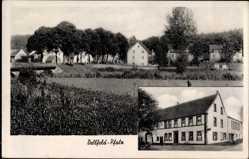 Postcard Dellfeld in der Pfalz, Stadtpanorama, Gastwirtschaft, Inh. A. Glahn
