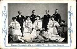 Jugendstil Ak Damen Trompeter Corps Ariosta, Dir. Alex Schwarz