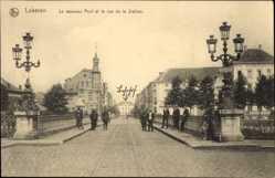 Postcard Lokeren Ostflandern, Le nouveau Pont et la rue de la Station