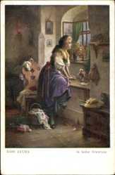 Künstler Ak Zatzka, Hans, In heißer Erwartung, Frau sitzt auf Fensterbrett