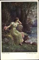 Künstler Ak Zatzka, Hans, Des Mädchens Klage, Einsame Frau am Wasser