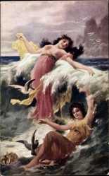 Künstler Ak Zatzka, Hans, Hra vin, Spiel der Wellen, Frauen im Wasser, Wellen