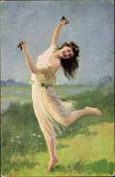 Künstler Ak Hering, Adolf, Der Frühling, tanzende Frau mit Kastagnetten
