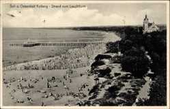 Postcard Kołobrzeg Kolberg Pommern, Ostseebad, Strand vom Leuchtturm aus