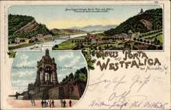 Litho Porta Westfalica Nordrhein Westfalen,Gesamtansicht, Kaiser Wilhelm Denkmal