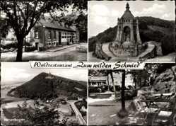 Postcard Dehme Bad Oeynhausen, Waldrestaurant zum wilden Schmied, Denkmal