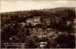 Postcard Lübbecke in Ostwestfalen, Blick auf das Gasthaus Wittekindsruh, Wald