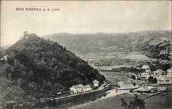 Postcard Nassau im Rhein Lahn Kreis, Blick auf den Ort, Berg, Burg, Fluss