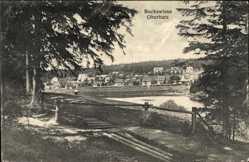 Postcard Hahnenklee Bockswiese Goslar, Blick auf den Ort, Gewässer, Wald