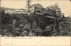 Postcard Thale im Harz, Blick auf das Hotel zur Rosstrappe, Bodetal