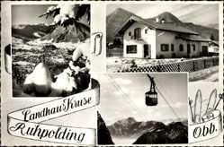 Postcard Ruhpolding im Kreis Traunstein Oberbayern, Seilbahn, Landhaus Kruse