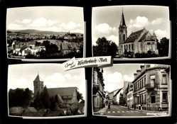 Postcard Weilerbach in der Pfalz, Ortspartie, Kirche, Straßenpartie, Häuser