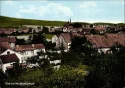 Postcard Weilerbach in der Pfalz, Blick auf den Ort, Kirchturm, Häuser