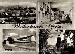 Postcard Weilerbach in der Pfalz, Teilansicht, Hauptstraße, Kriegerdenkmal, Schule