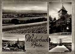 Postcard Weilerbach in der Pfalz, Bürgermeisteramt und Protestantische Kirche,Friedhof