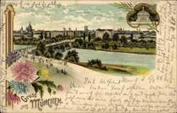 Litho München Bayern, Bürgermeisterdenkmal, Brücke, St. Lukas Kirche