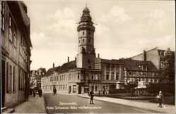 Ak Salzwedel in der Altmark, Straßenpartie am Rathausturm, Hotel