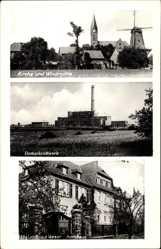 Postcard Lahde Petershagen Weser Nordrhein Westfalen, Kirche, Windmühle,Dampfkraftwerk