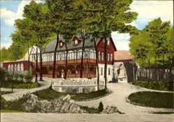 Postcard Vlotho in Nordrhein Westfalen, Burggaststätte auf dem Amthausberg