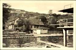 Postcard Bad Frankenhausen im Kyffhäuserkreis, Sole Schwimmbad, Sprungbrett