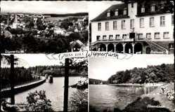 Postcard Wipperfürth im Oberbergischen Kreis, Rathaus, Neyetalsperre, Strandbad
