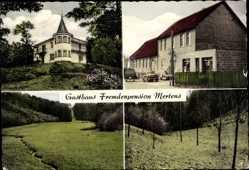 Postcard Halscheid Windeck im Rhein Sieg Kreis, Gasthof Mertens, Gartenanlage