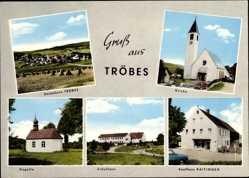 Postcard Tröbes Moosbach Oberpfalz, Kirche, Kaufhaus Raitinger, Schule, Kapelle
