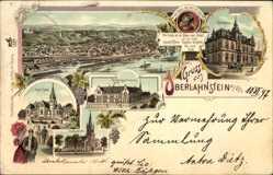 Litho Oberlahnstein Lahnstein im Rhein Lahn Kreis, Gymnasium, Kirche, Rathaus