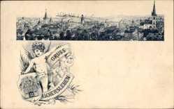 Wappen Litho Aschersleben im Salzlandkreis, Engel, Totalansicht der Ortschaft