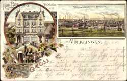 Litho Völklingen im Saarland, Hotel Restaurant Michler, Eisen und Stahlwerk