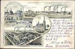Litho Granschütz Hohenmölsen im Burgenlandkreis, Fabrik, Schule, Paraffinfabrik