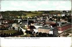 Ak Waldheim in Mittelsachsen, Blick von der Hufe mit Kgl. Strafanstalt
