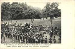 Postcard Sibyllenort Szczodre Schlesien, König Albert von Sachsen, Sargträger