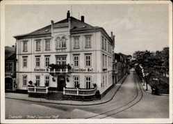 Postcard Detmold in Nordrhein Westfalen, Hotel Lippischer Hof, Straßenpartie