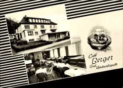 Postcard Reinhardshausen Bad Wildungen in Nordhessen, Cafe Berger, Bad Reinhardsquelle